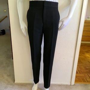 LANVIN BLACK Wool/Linen Tuxedo Pants Sz 40/US8